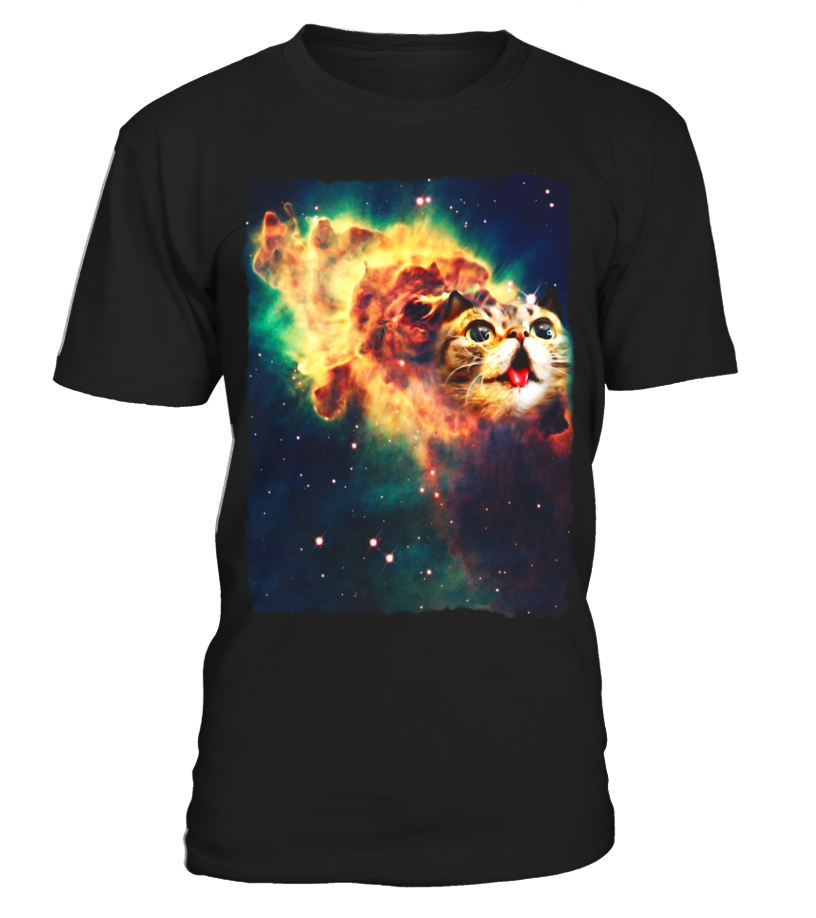 Space Cat Shirt Cosmic Dust Cat Galaxy Cute Tongue Emoji Tee
