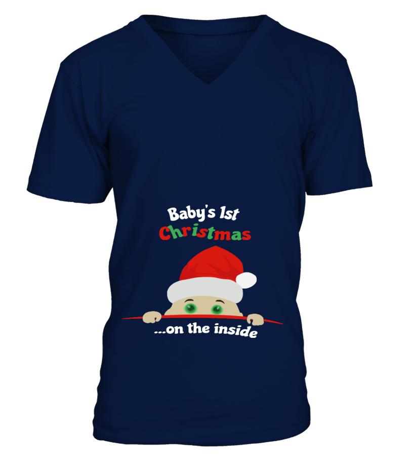 Gifts Christmas - Babys 1st Christmas  on the inside V-neck T-Shirt Unisex