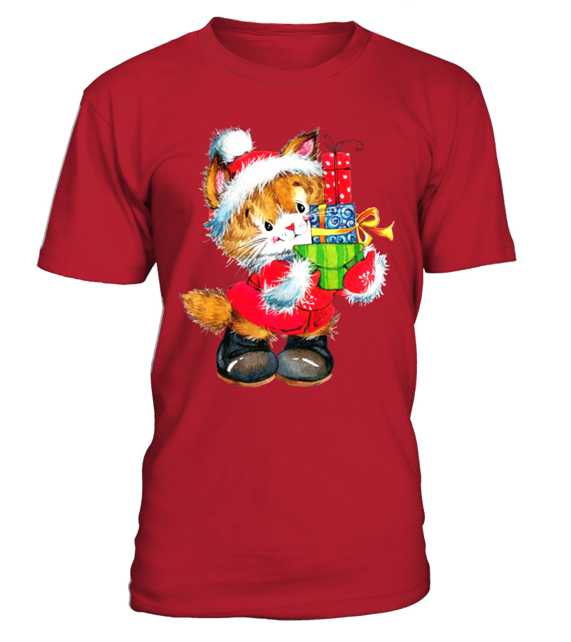 Shop Christmas - SUPERCUTE CHRISTMAS CAT Round neck T-Shirt Unisex