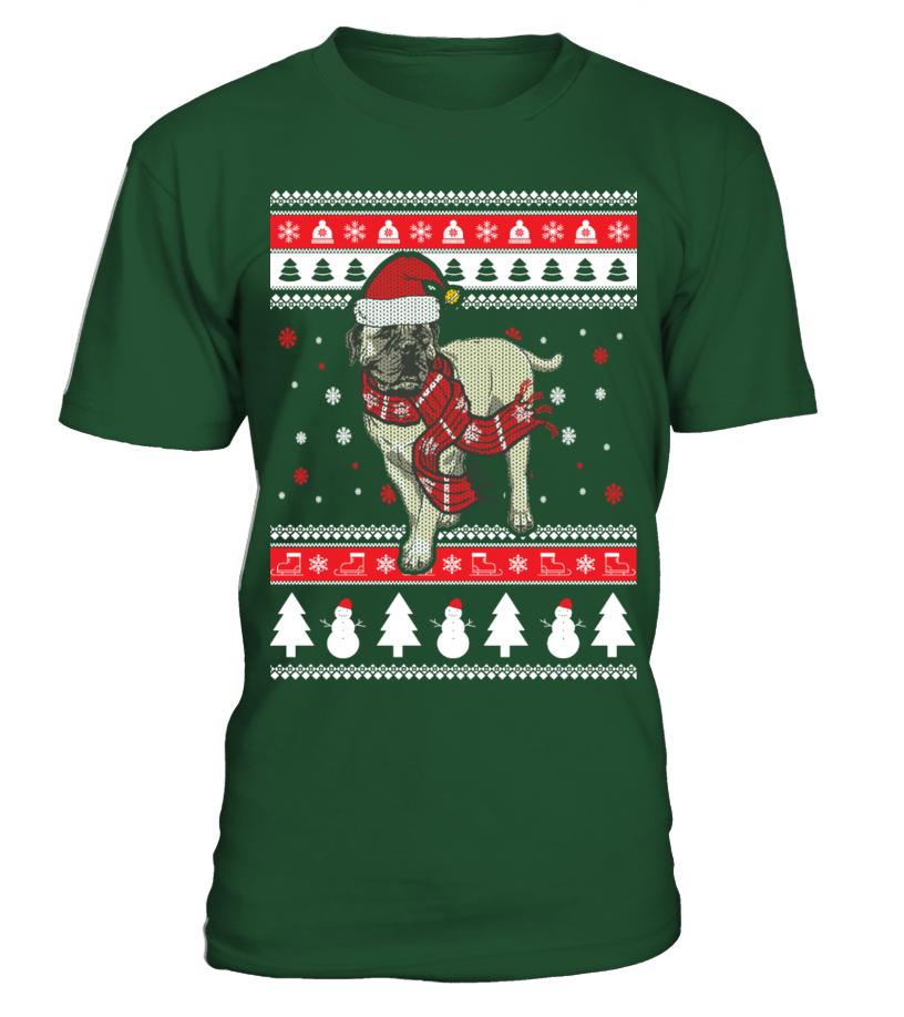 Shop Christmas - Bullmastiff Ugly Christmas Sweater Round neck T-Shirt Unisex