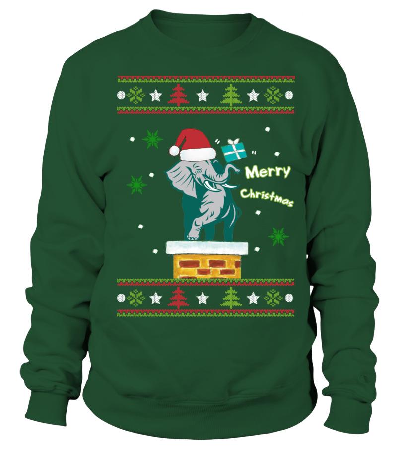 Funny Christmas - ELEPHANT MERRY CHRISTMAS Sweatshirt Unisex