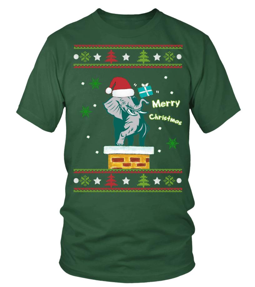Funny Christmas - ELEPHANT MERRY CHRISTMAS Round neck T-Shirt Unisex