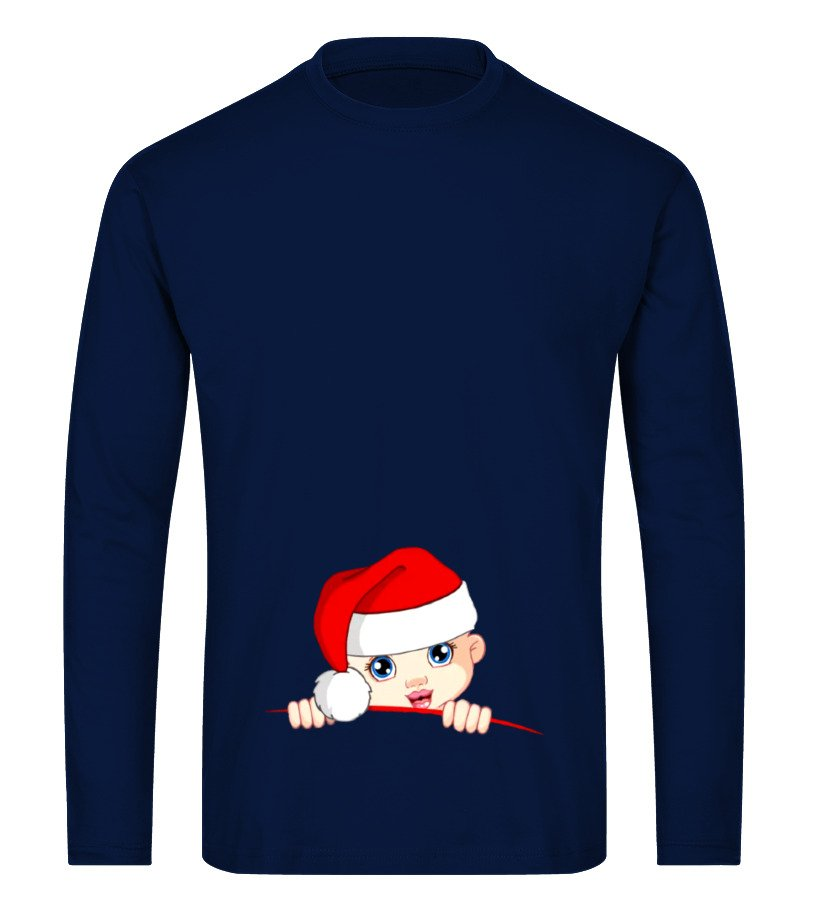 Awesome Christmas - Peek a Boo Maternity Christmas Long sleeved T-shirt Unisex