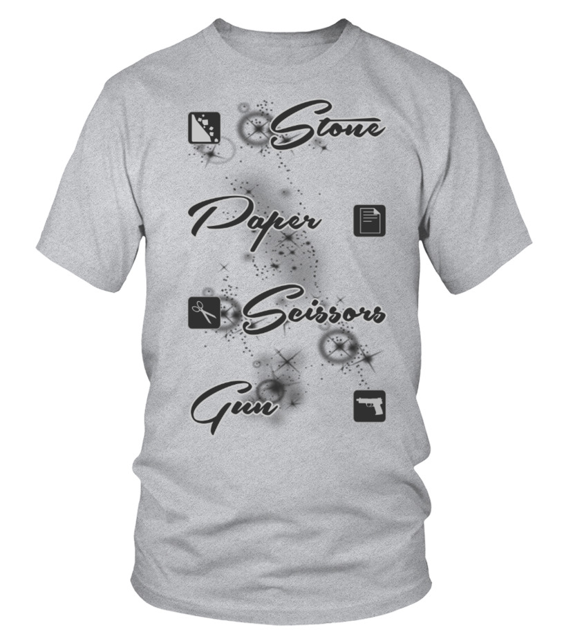 Stone paper scissors gun dark tee