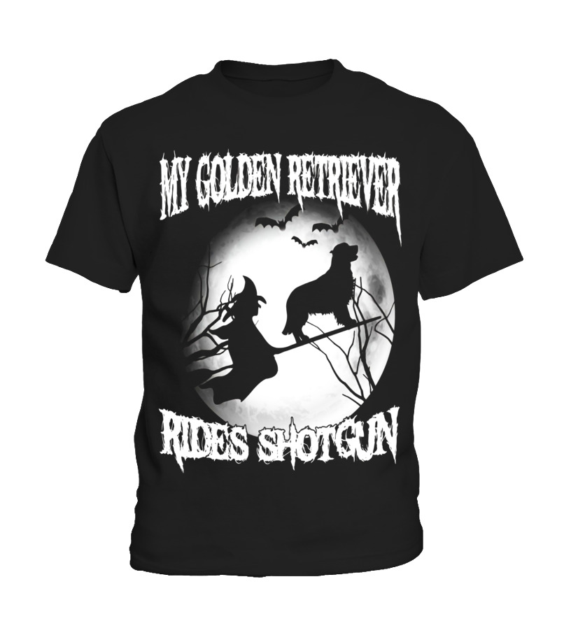 Best Halloween - My golden retriever Rides Shotgun Halloween shirt Kid T-Shirt
