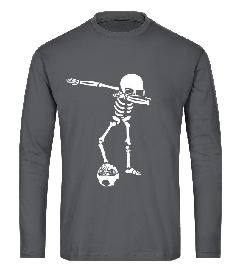Amazing Halloween - Skeleton Dabbing Shirt With Soccer Ball Halloween Funny Long sleeved T-shirt Unisex
