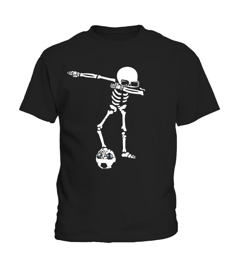 Amazing Halloween - Skeleton Dabbing Shirt With Soccer Ball Halloween Funny Kid T-Shirt