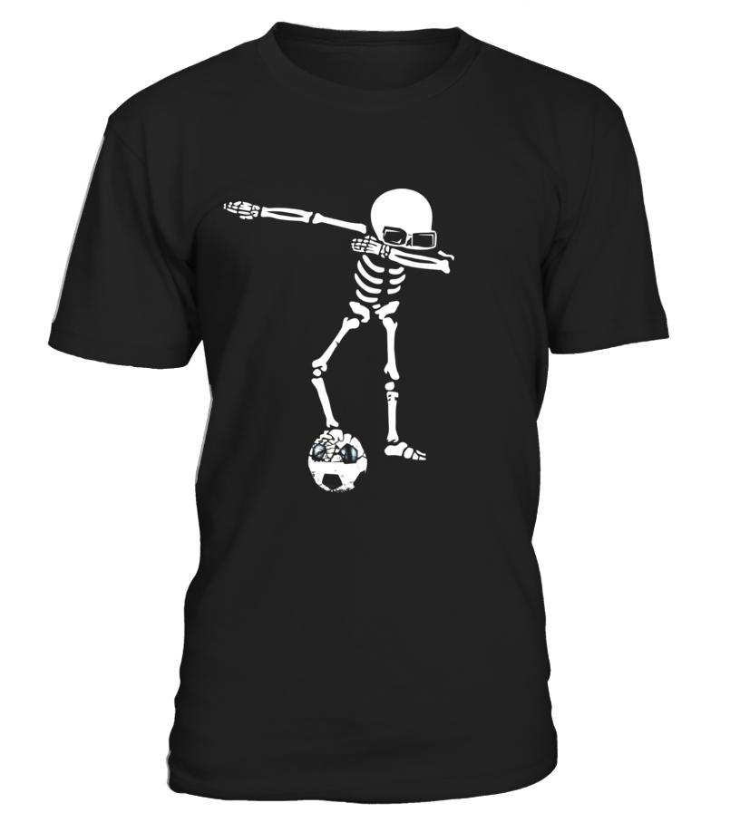Amazing Halloween - Skeleton Dabbing Shirt With Soccer Ball Halloween Funny Round neck T-Shirt Unisex