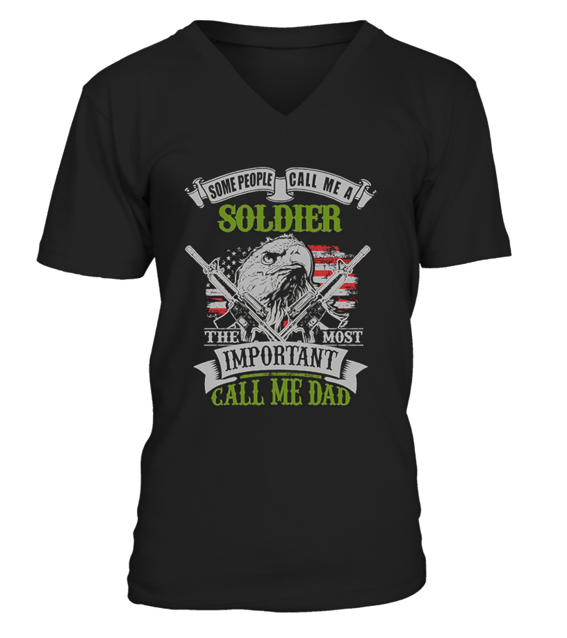 Shop Father T-Shirt - Soldier Dad Gift for Fathers Day Army 8 V-neck T-Shirt Unisex
