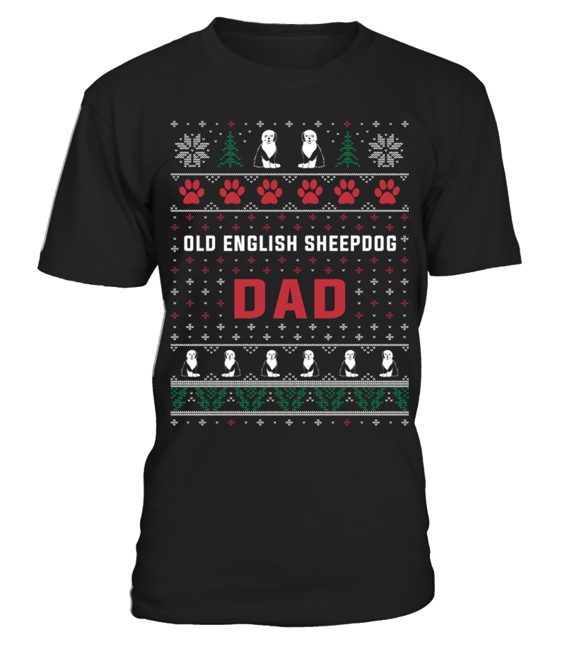 Awesome Christmas - Old-English-Sheepdog-Dad-Sweater-Christmas Round neck T-Shirt Unisex