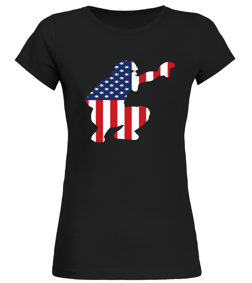 Funny Baseball - Baseball Catcher American Round neck T-Shirt Woman
