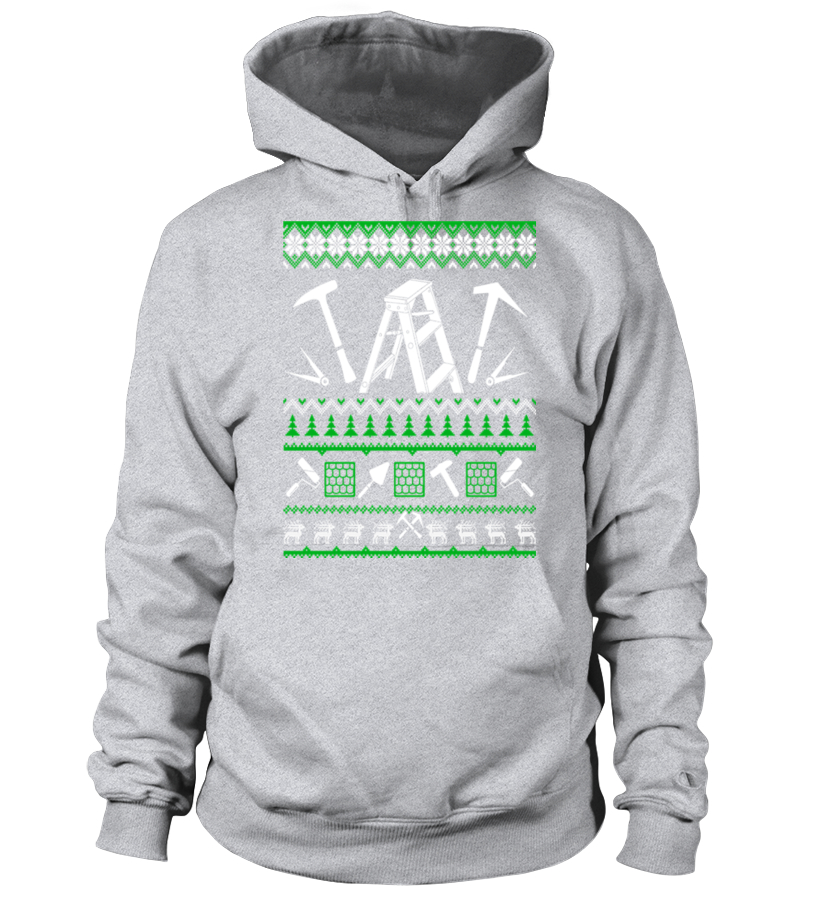 Shop Christmas - Roofer Christmas Sweater T Shirt Hoodie Unisex