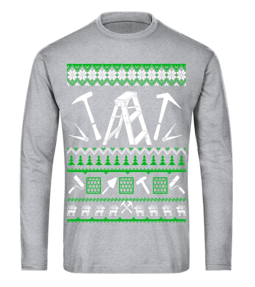 Shop Christmas - Roofer Christmas Sweater T Shirt Long sleeved T-shirt Unisex