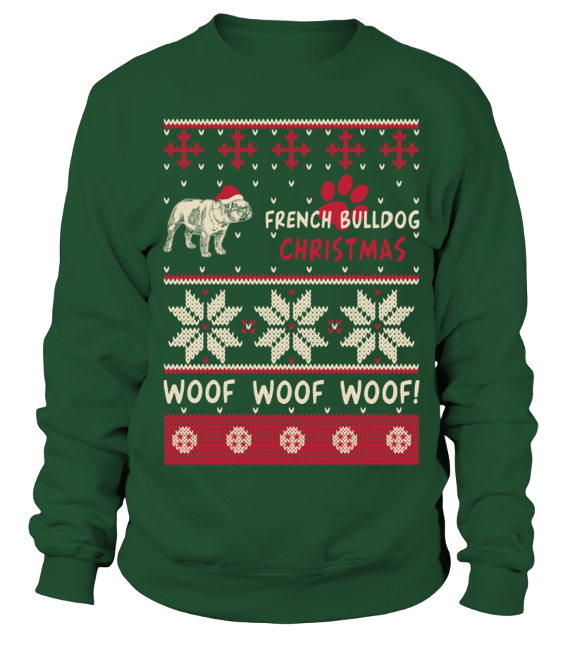 Shop Christmas - French Bulldog Christmas Woof Woof Shirt Sweatshirt Unisex