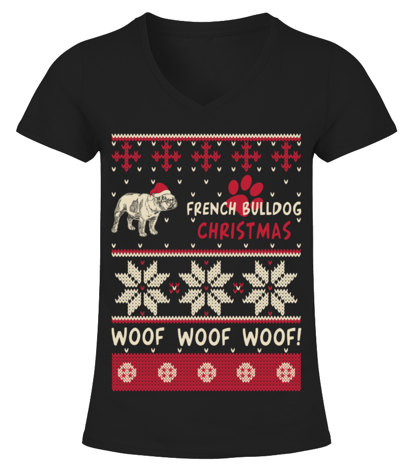 Shop Christmas - French Bulldog Christmas Woof Woof Shirt V-neck T-Shirt Woman