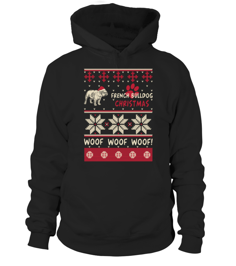 Shop Christmas - French Bulldog Christmas Woof Woof Shirt Hoodie Unisex