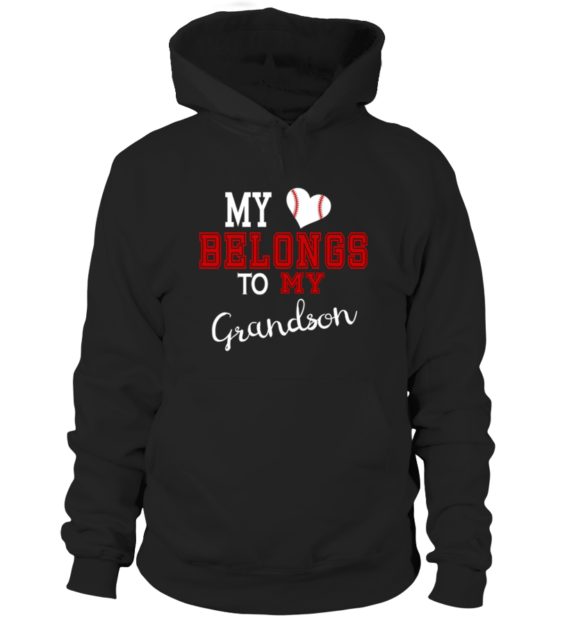 Best Baseball - My Heart Belongs To My Grandson Baseball  Grandparents Hoodie Unisex
