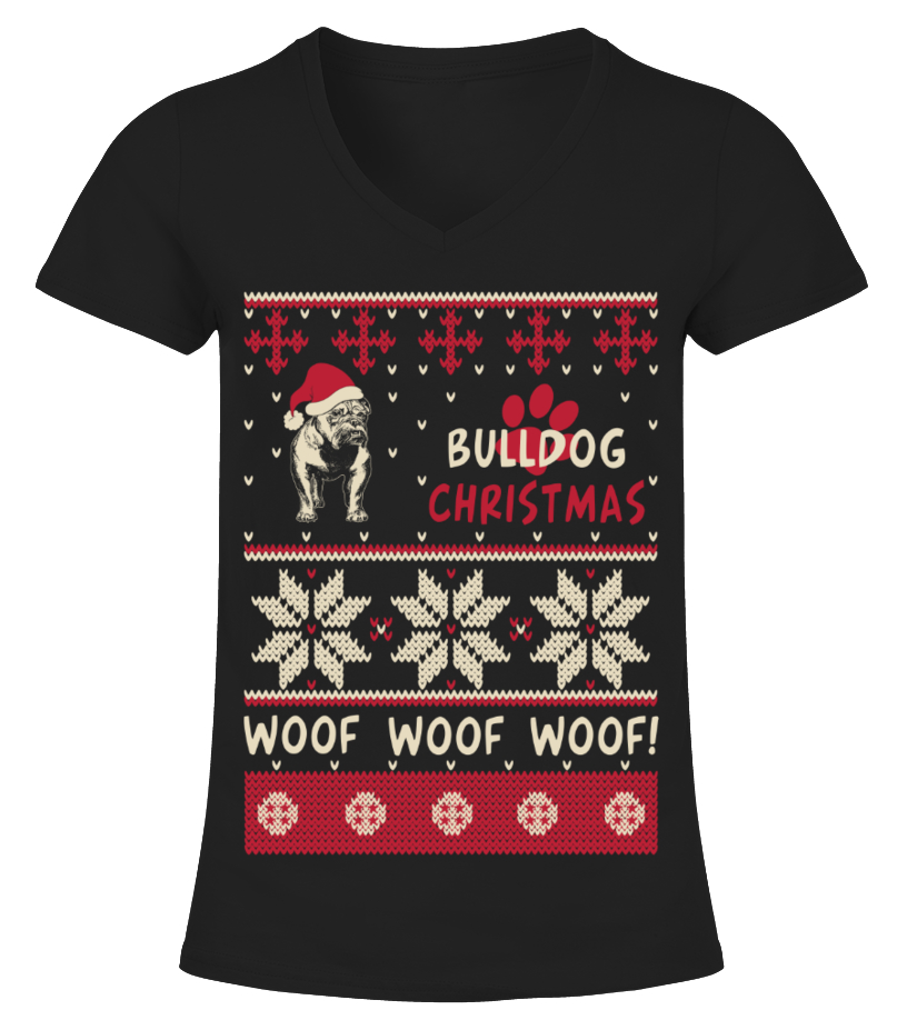 Amazing Christmas - Bulldog Christmas Sweater Shirt V-neck T-Shirt Woman