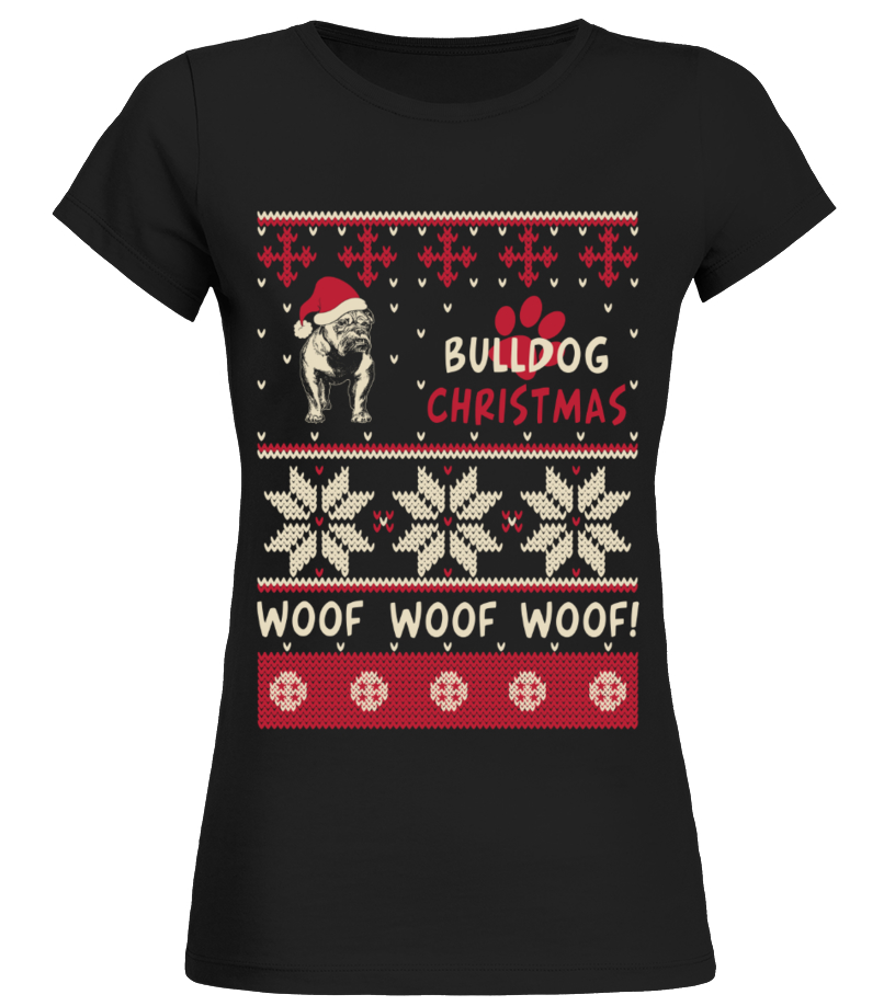 Amazing Christmas - Bulldog Christmas Sweater Shirt Round neck T-Shirt Woman