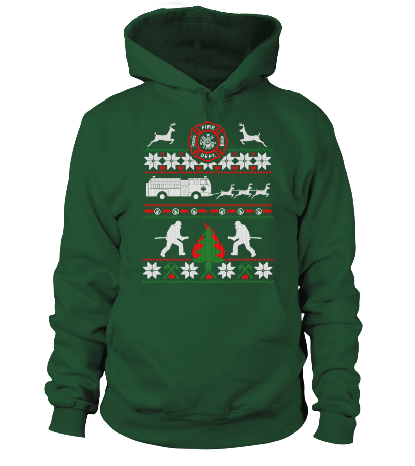 Funny Christmas - FIREFIGHTER UGLY CHRISTMAS SWEATSHIRT Hoodie Unisex