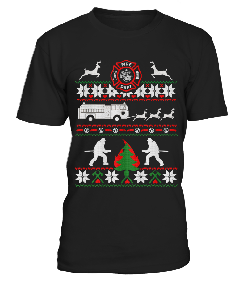 Funny Christmas - FIREFIGHTER UGLY CHRISTMAS SWEATSHIRT Round neck T-Shirt Unisex