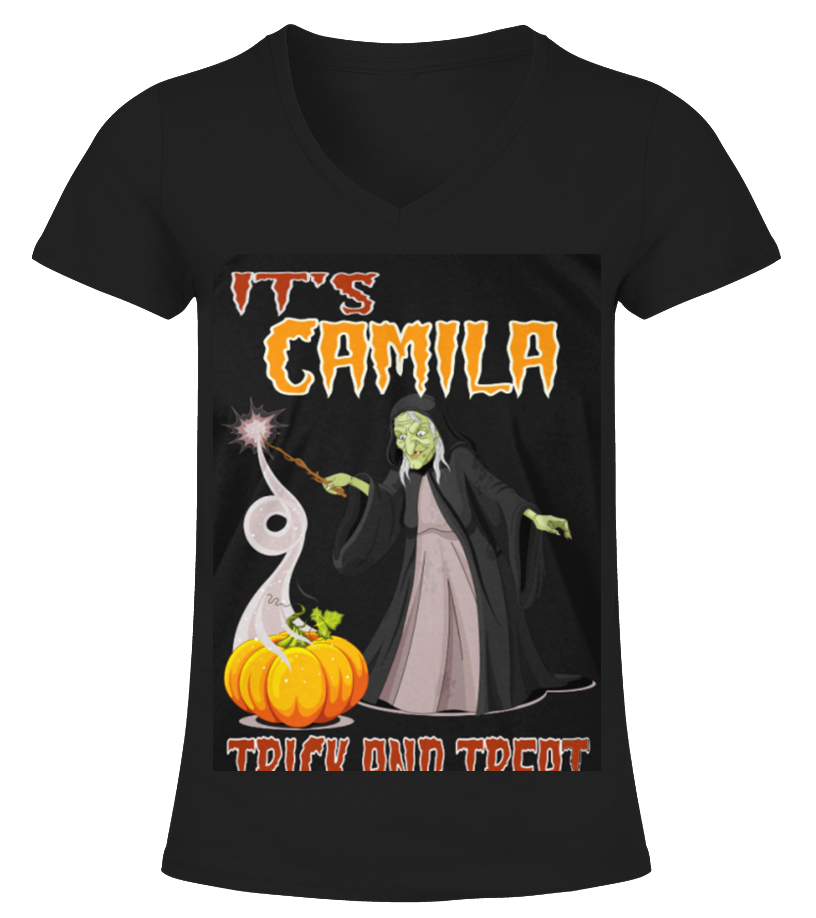 Gifts Halloween - Top Shirt CAMILLE IS HAVING FANTASTIC HALLOWEEN front V-neck T-Shirt Woman
