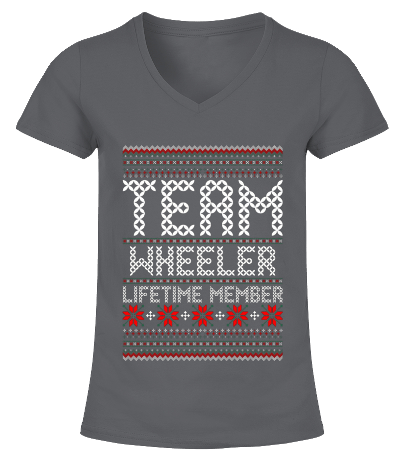 Funny Christmas - Kids Team Wheeler Lifetime Member Ugly Christmas Sweater T Shirt 12 Black copy V-neck T-Shirt Woman
