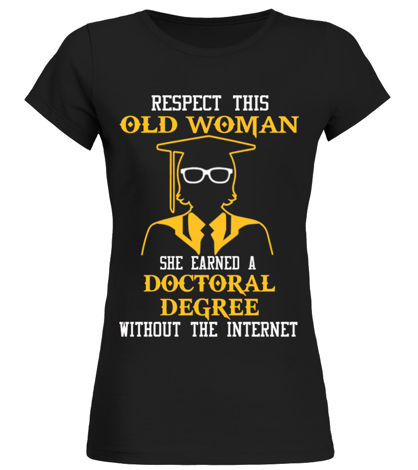 Old woman doctoral degree