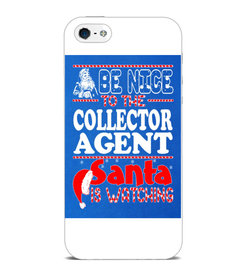 Funny Christmas - Men S Nice To Collector Agent Santa Watching Christmas T Shirt  3xl Royal Blue iPhone 5 Case