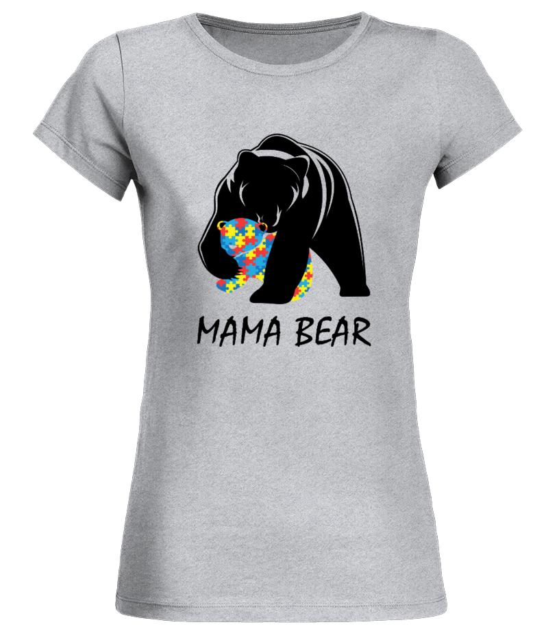 Funny Mother T-Shirt - Autism Awareness Mom - Mama Bear T-Shirt Round neck T-Shirt Woman