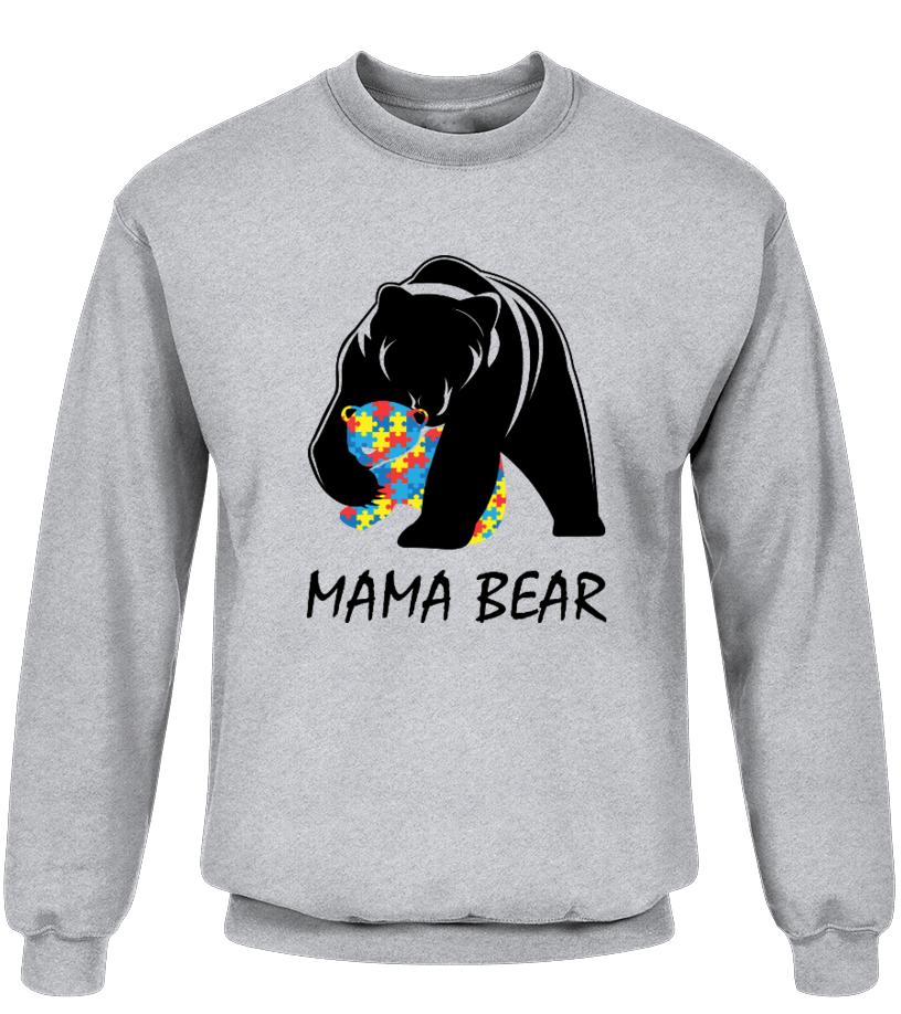 Funny Mother T-Shirt - Autism Awareness Mom - Mama Bear T-Shirt Premium Sweater Unisex