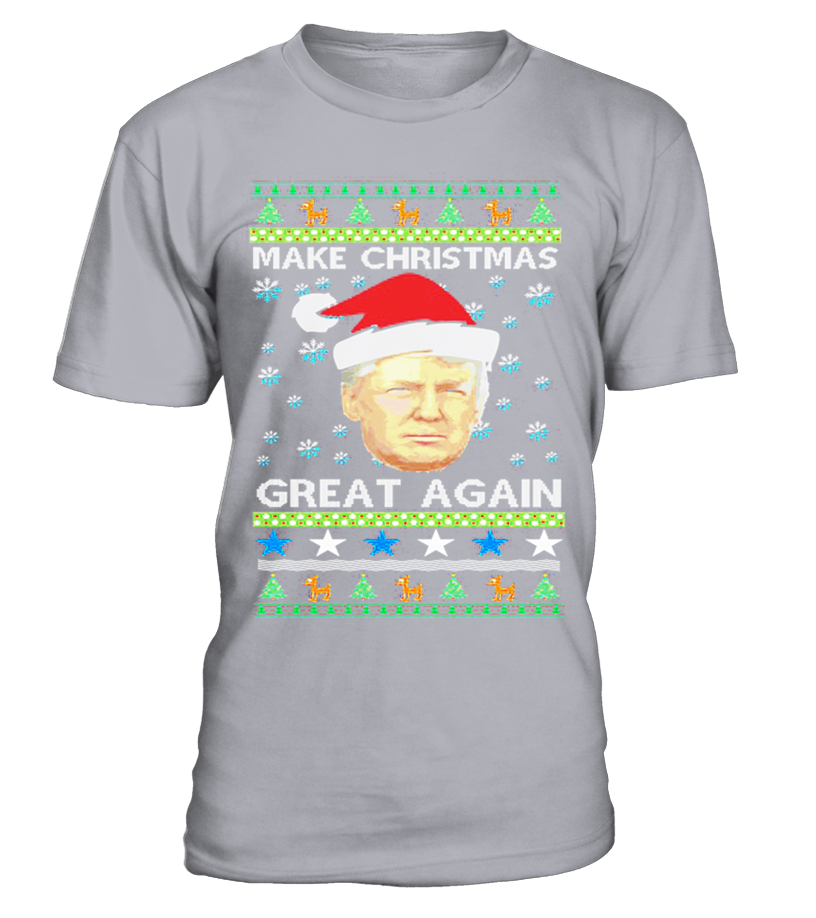 awesome christmas donald trump make christmas great again ugly christmas sweater t shirt round neck