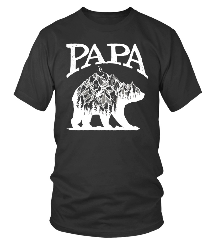 Mens Papa Bear Shirt with Double Exposure Grizzly Silhouette - Limited Edition