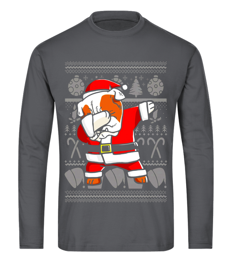 Shop Christmas - Dabbing English Bulldog Dog Ugly Christmas T-Shirt Long sleeved T-shirt Unisex