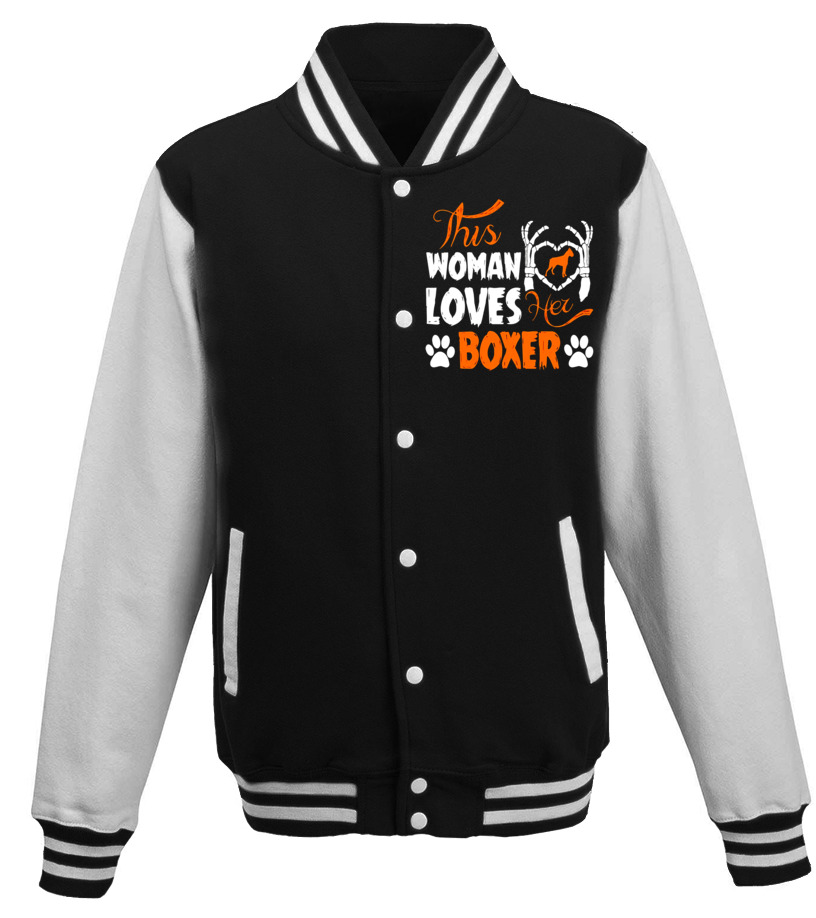 Shop Halloween - This Woman Loves Her Boxer Halloween T-Shirt Baseball Jacket Unisex
