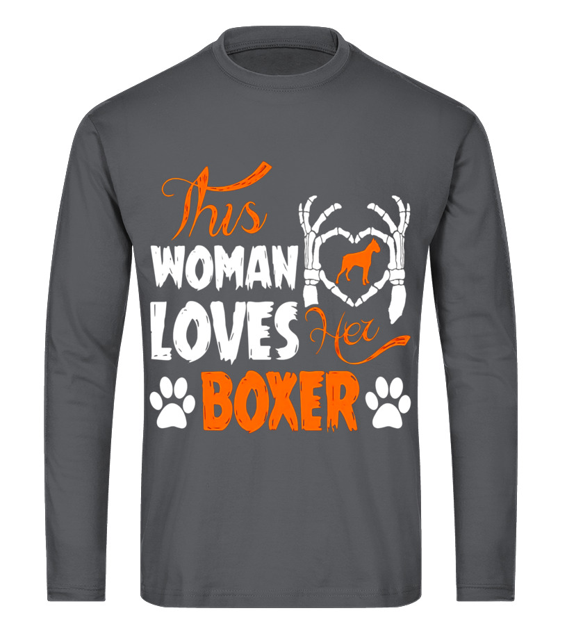 Shop Halloween - This Woman Loves Her Boxer Halloween T-Shirt Long sleeved T-shirt Unisex