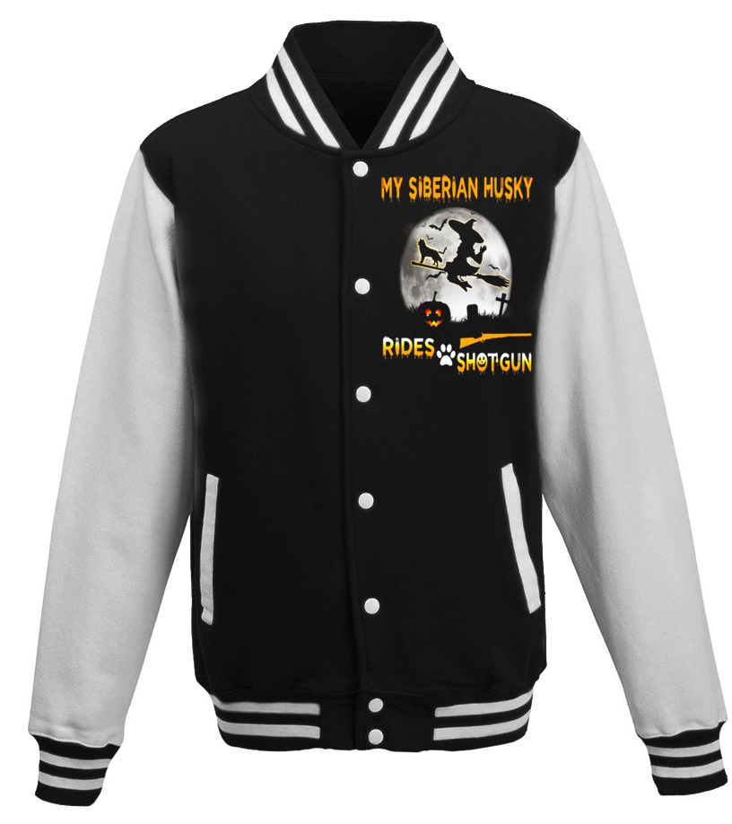 Shop Halloween - My Siberian Husky Rides Shotgun Halloween T-Shirt Baseball Jacket Unisex