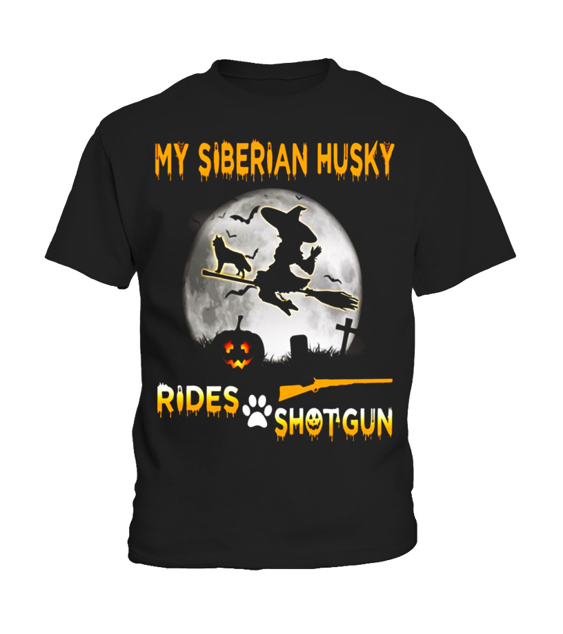 Shop Halloween - My Siberian Husky Rides Shotgun Halloween T-Shirt Kid T-Shirt