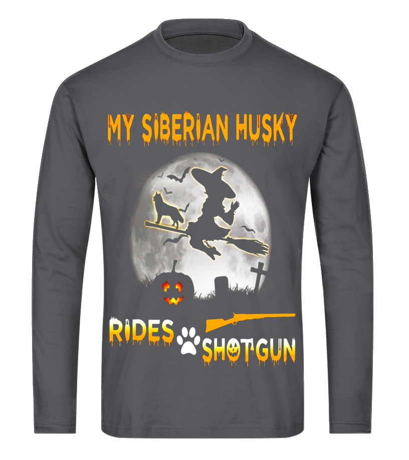 Shop Halloween - My Siberian Husky Rides Shotgun Halloween T-Shirt Long sleeved T-shirt Unisex