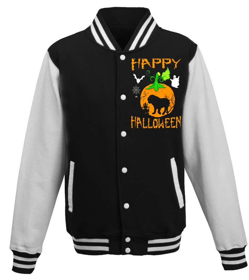 Amazing Halloween - OLD ENGLISH BULLDOG Dog In Pumpkin Happy Halloween T-Shirt Baseball Jacket Unisex