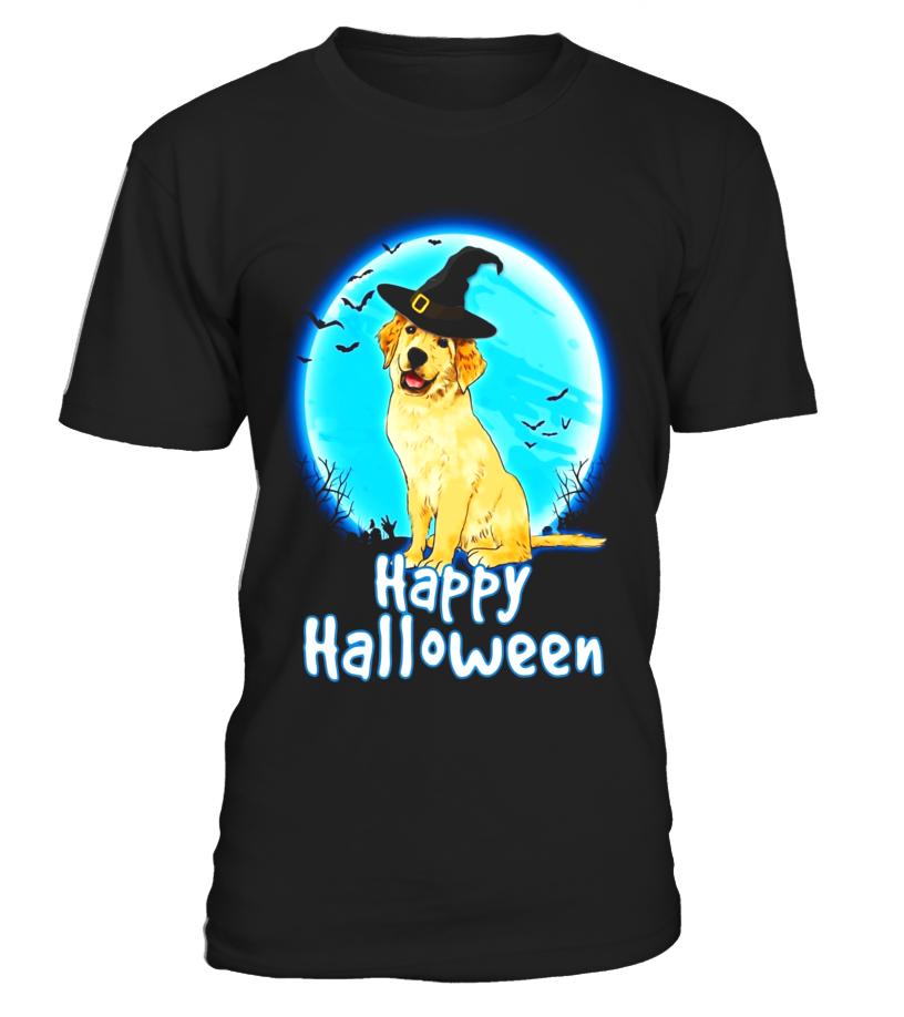 Amazing Halloween - Golden Retriever Dog With Witch Hat Funny Halloween T Shirt Round neck T-Shirt Unisex