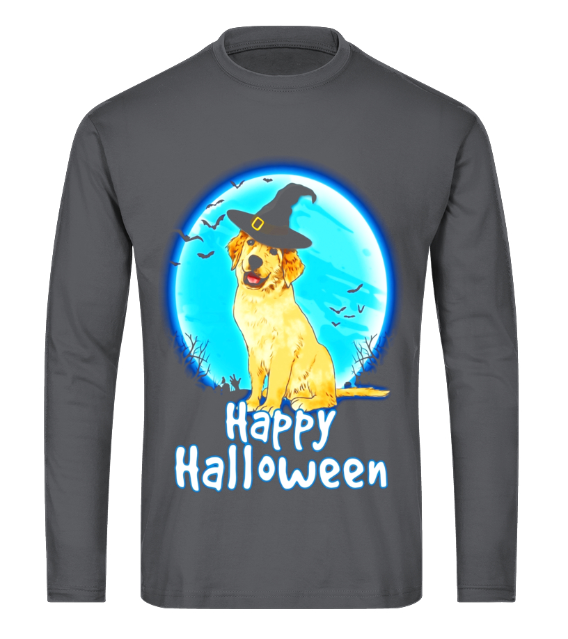 Amazing Halloween - Golden Retriever Dog With Witch Hat Funny Halloween T Shirt Long sleeved T-shirt Unisex