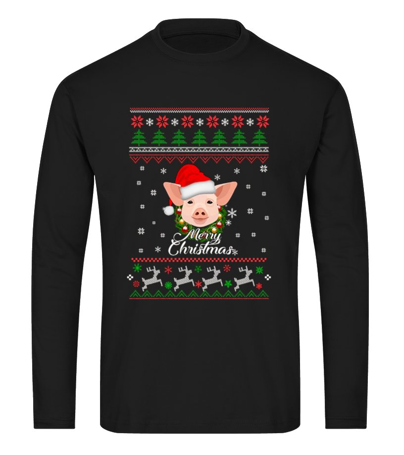 Shop Christmas - Merry Pigmas Funny Pig Christmas T-shirt Long sleeved T-shirt Unisex