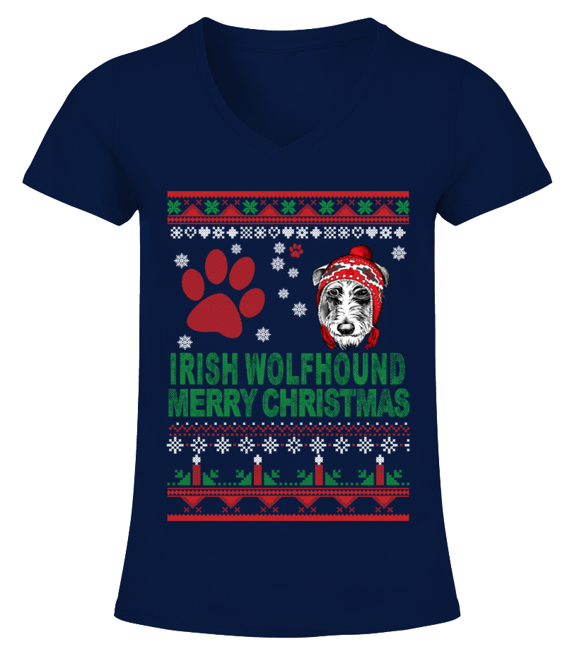 Awesome Christmas - IRISH WOLFHOUND Ugly Christmas Sweater V-neck T-Shirt Woman