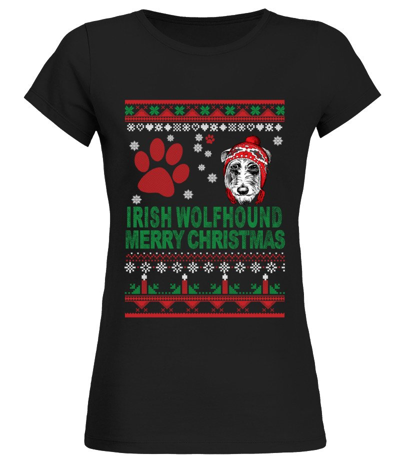 Awesome Christmas - IRISH WOLFHOUND Ugly Christmas Sweater Round neck T-Shirt Woman
