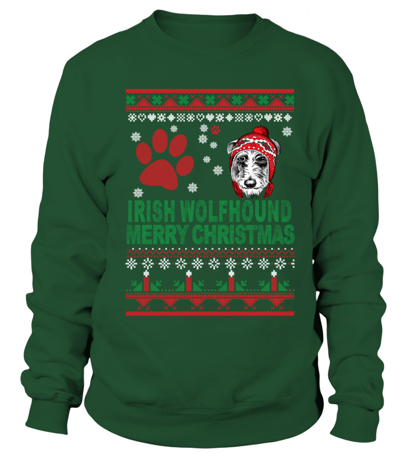 Awesome Christmas - IRISH WOLFHOUND Ugly Christmas Sweater Sweatshirt Unisex