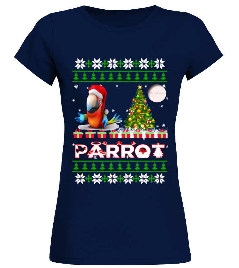 Best Christmas - PARROT Ugly Christmas Sweatshirt Round neck T-Shirt Woman