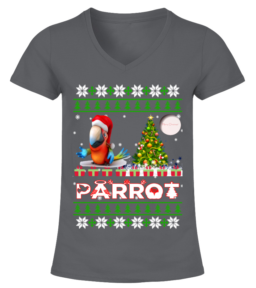Best Christmas - PARROT Ugly Christmas Sweatshirt V-neck T-Shirt Woman