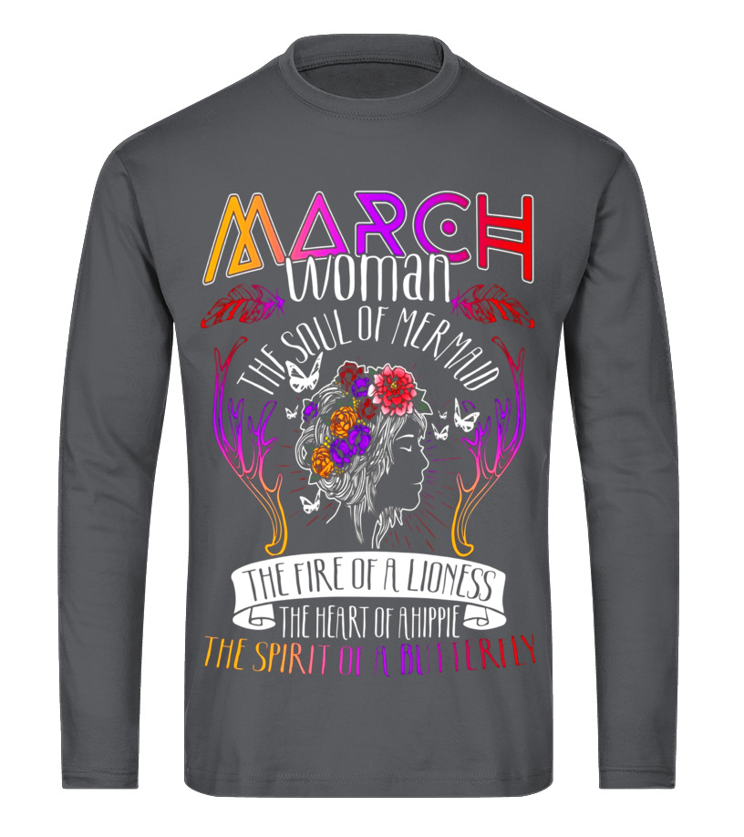 Best March T-Shirt - March Woman With The Mermaid Soul And Hippie Heart T-shirt Long sleeved T-shirt Unisex