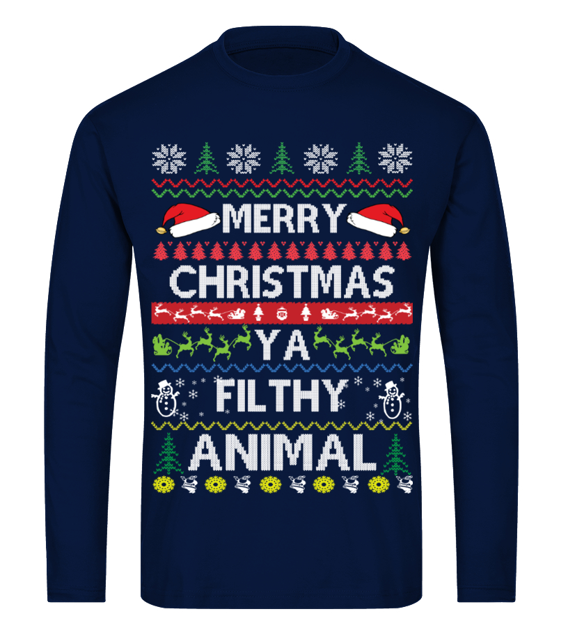 Amazing Christmas - Merry Christmas Ya Filthy Animal Long sleeved T-shirt Unisex